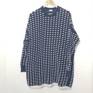 Noisy May   Long Sweater Top Navy Windowpane Knit